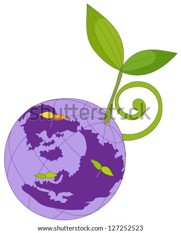 A vector illustration of planet earth with plant
