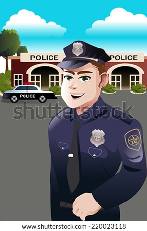 A vector illustration of policeman standing in front of police station - stock vector