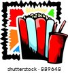 A vector illustration of pop-corns and a drink. - stock photo