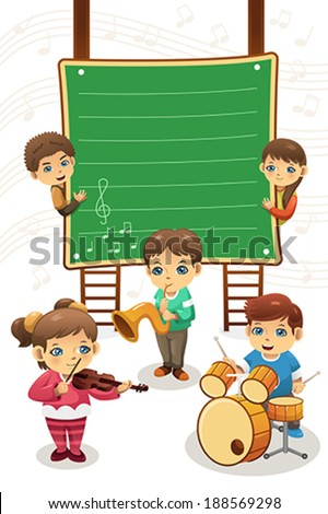 A vector illustration of poster of kids playing music, can be used for music class advertisement - stock vector
