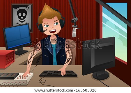 A vector illustration of radio DJ working in a radio station - stock vector