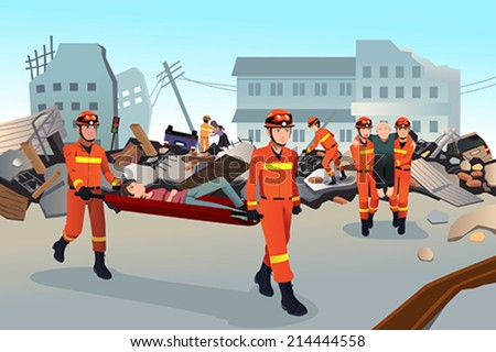 A vector illustration of rescue teams searching through the destroyed  buildings  during the earthquake - stock vector