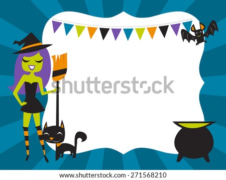 A vector illustration of 1960s retro inspired cute halloween witch theme party design copyspace background. Ideal for invitation or poster design. - stock vector