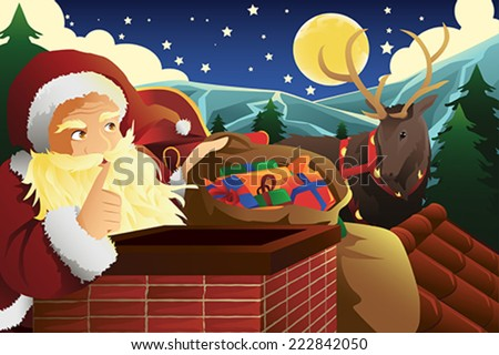 A vector illustration of Santa Claus with sleigh full of Christmas presents near a chimney - stock vector