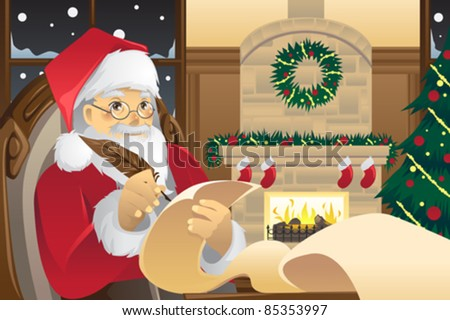 A vector illustration of Santa Claus writing Christmas presents list on a piece of paper - stock vector