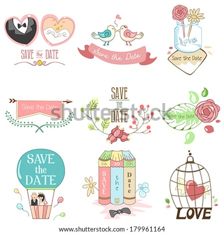 A vector illustration of save the date for wedding design - stock vector