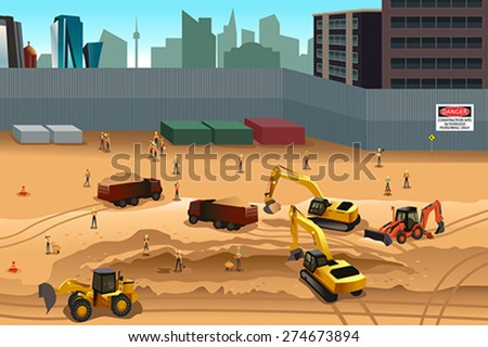 A vector illustration of scene in a construction site - stock vector