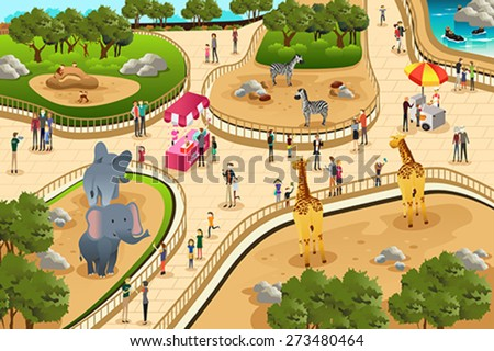 A vector illustration of scene in a zoo - stock vector