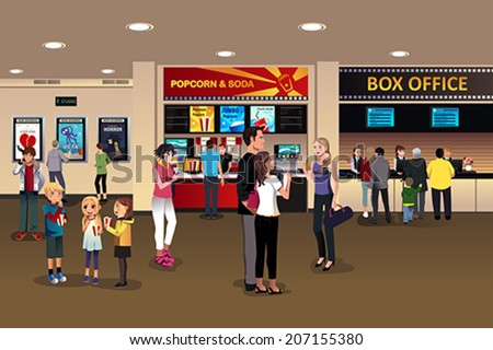 A vector illustration of scene in the movie theater lobby - stock vector
