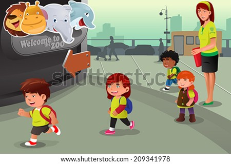 A vector illustration of school field trip to a zoo - stock vector