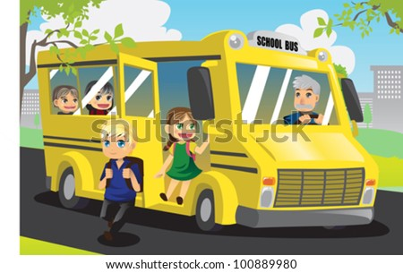 A vector illustration of school kids getting off from the school bus - stock vector