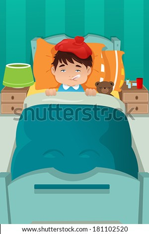 A vector illustration of sick boy resting on bed - stock vector