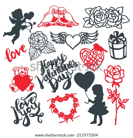 A vector illustration of silhouette or paper cut style valentine's day design elements. This set include symbols like cupid, flowers, heart and more. Ideal for valentine's day theme projects. - stock vector
