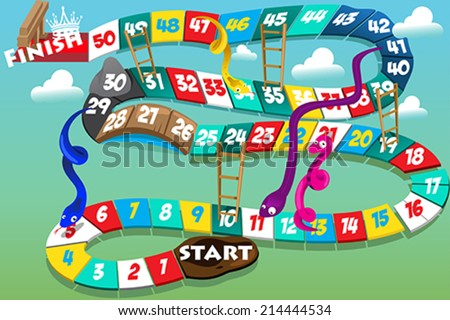 A vector illustration of snakes and ladders game - stock vector