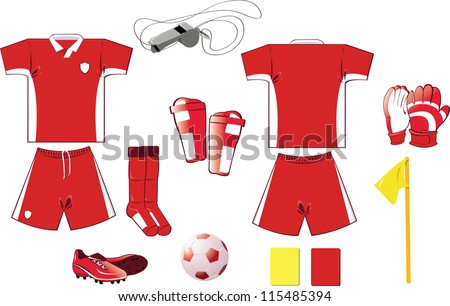 A vector illustration of soccer equipment - every object is singly grouped - stock vector