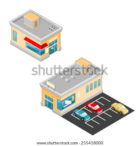 A vector illustration of stores with cars and parking spaces. Isometric Stores. Isometric Grocery Stores.