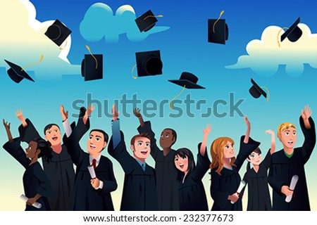 A vector illustration of students celebrating their graduation by throwing their graduation hats in the air