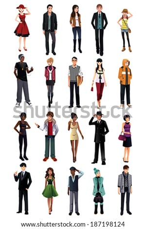 A vector illustration of stylish young people from different ethnicity