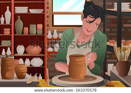 A vector illustration of stylish young woman working on a pottery - stock vector