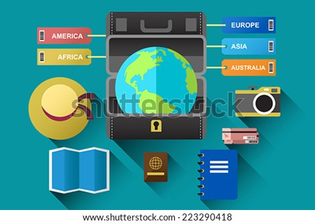 A vector illustration of suitcase with globe for travel concept - stock vector