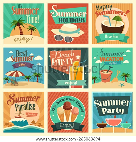 A vector illustration of summer icon sets - stock vector