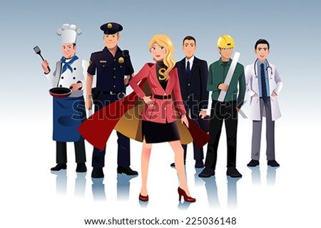 A vector illustration of super businesswoman standing in front of men - stock vector