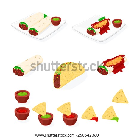 A vector illustration of tasty Mexican food. Mexican food. Mexican food icon set. - stock vector