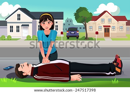 A vector illustration of teenager giving a CPR to a middle aged man on the street - stock vector