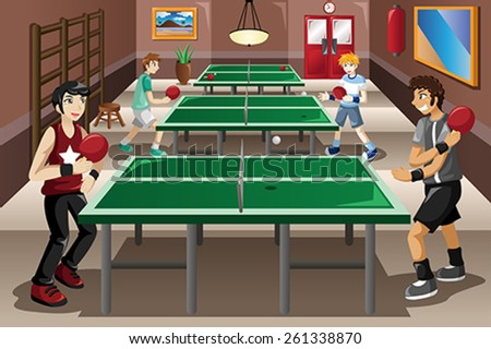 A vector illustration of teenagers playing ping pong - stock vector