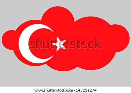 A vector illustration of the flag of Turkey in the shape of a cloud