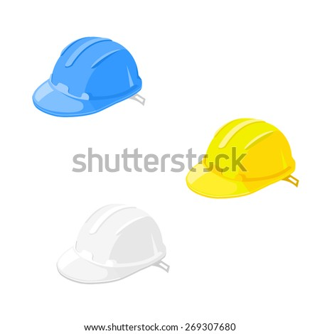 A vector illustration of the  hard hats worn at work for head protection. Hard Hats Heath and safety equipment. - stock vector