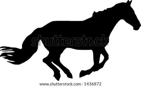 A vector illustration of the silhouette of a galloping horse
