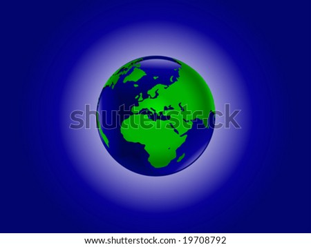 A vector illustration of the world in blue and green