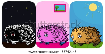 A vector illustration of three little funny Hedgehogs. Can be recolored or scaled without problems and quality loss - stock vector
