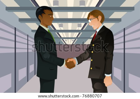 A vector illustration of two businessmen shaking hands in a technology data center