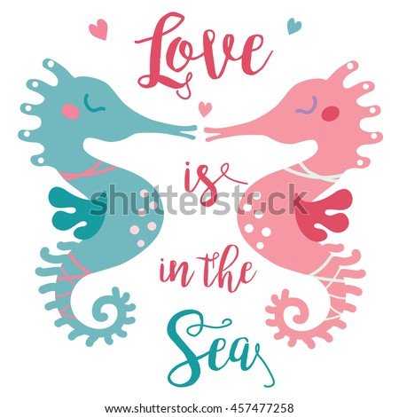 A vector illustration of two cute seahorses kissing each other in the sea of love. Valentine greeting card; love story image for the couple. Love is in the Sea image.
