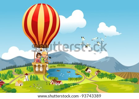 A vector illustration of two kids riding a hot air balloon - stock vector
