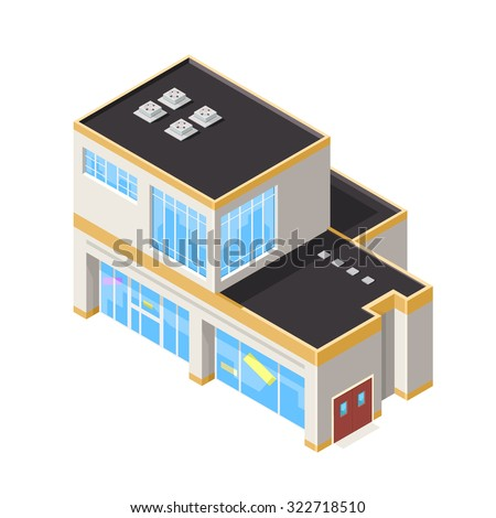 A vector illustration of two large department store.  Isometric department store icon illustration.  Large shops with sale in windows. - stock vector