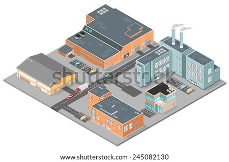 A vector illustration of various isometric modern buildings set in a business park. Isometric urban scene of a business park. Isometric Industrial Business Park.