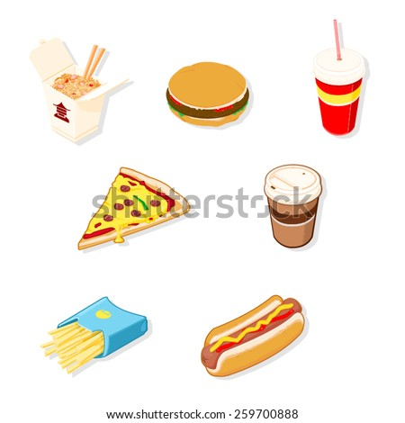 A vector illustration of various isometric take out food. Isometric Fast Food. Fast Food Junk Food. - stock vector