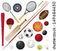 A Vector Illustration Of Various Sport Equipment - stock vector
