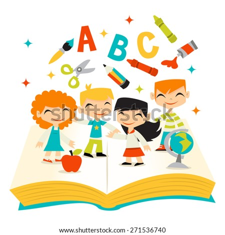 A vector illustration of whimsical retro kids happy learning on a giant book with school items. - stock vector