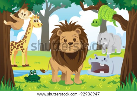 A vector illustration of wild jungle animals in the animal kingdom - stock vector