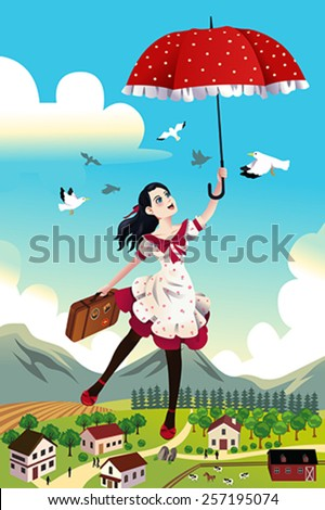 A vector illustration of woman holding an umbrella flying in the air for carefree concept - stock vector
