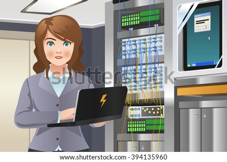A vector illustration of woman working in computer server room