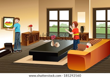 A vector illustration of young couple hanging a painting on the wall for home improvement - stock vector