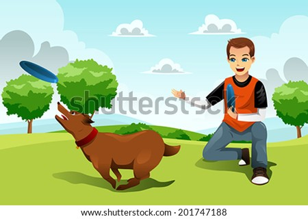 A vector illustration of young man playing with his dog in the park - stock vector