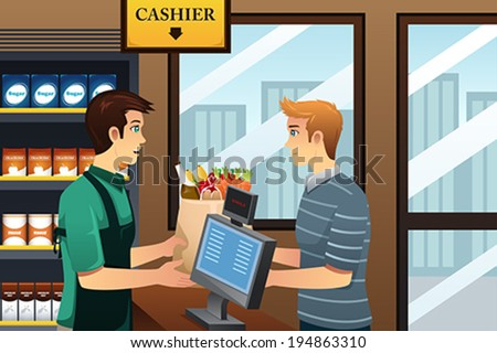 A vector illustration of young man shopping at the grocery - stock vector