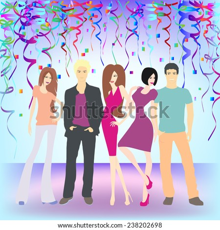 A vector illustration of young people having New Year's celebration party - stock vector