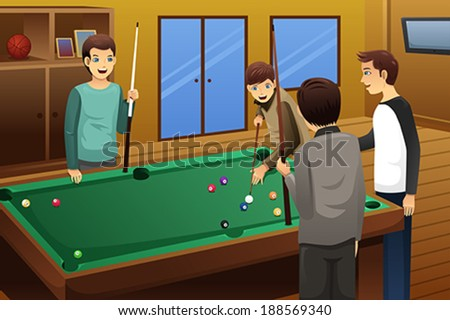 A vector illustration of young people playing billiard together - stock vector